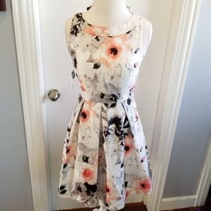 Pearl White Gray Pesch Floral A line Dress Easter